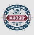 barbershop poster banner label badge or emblem vector image vector image