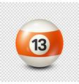 billiardorange pool ball with number 13snooker vector image vector image