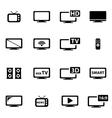 black tv icon set vector image vector image