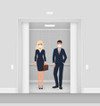 business people in masks from covid 19 in elevator vector image