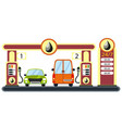 cars on gas station vector image