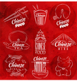 Chinese food symbols red vector image vector image