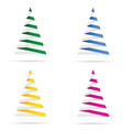 christmas tree set in colorful vector image vector image