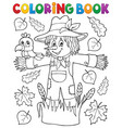 coloring book scarecrow theme 1 vector image vector image