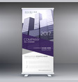 company roll up banner with purple shapes and vector image vector image