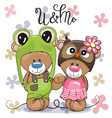 cute cartoon bears in a frog hat and owl hat vector image
