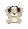 cute lovely koala with headphones and v sign vector image