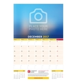 December 2017 Wall Monthly Calendar for 2017 Year vector image vector image