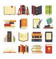 flat books icons magazines with bookmark history vector image vector image
