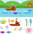 Flat Style Underwater Life with Fisherman on a vector image