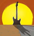 Guitar sunset vector image vector image
