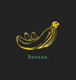 hand drawn banana on black background vector image vector image