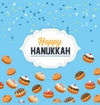happy hanukkah celebration with sweet breads vector image vector image