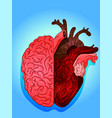 heart and brain art drawing vector image vector image
