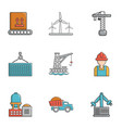 heavy industry icons set cartoon style vector image vector image