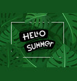 hello summer summer season exotic leaves banner vector image vector image