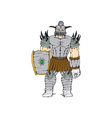 Horned Knight Full Armor Shield Cartoon vector image vector image