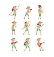 kids in scout costumes young scouts boys vector image vector image