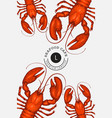 lobster colored banner hand drawn seafood vector image