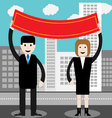 Man and woman hold red banner vector image vector image