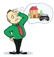 Man dreaming house and car Concept for credit or vector image vector image