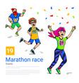 man teenager and woman runner cross finish vector image