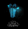 merry christmas blue glitter gift greeting card vector image vector image