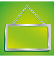 metal frame with glass and chain on a green backgr vector image vector image