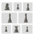monochrome icons with chess pieces vector image