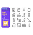 network computers accessories line icons set vector image vector image