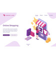 online shopping isometric landing page web banner vector image
