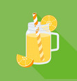 orange juice in mason jar flat design vector image
