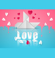 paper hearts valentines day dove icon vector image vector image