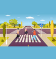 people walking on crosswalk pedestrians crossing vector image