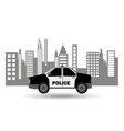 police car city background design vector image vector image