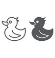 rubber duck line and glyph icon toy and bath vector image vector image