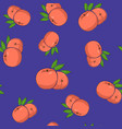 seamless pattern peach on purple background vector image vector image
