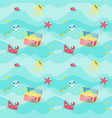 seamless pattern with marine animals and vector image vector image
