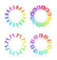 set round frames with rainbow people holding vector image vector image