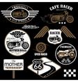set vintage motorcycle badges vector image