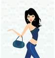 shopping fashion young girl vector image