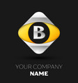 silver letter b logo in the silver-yellow square vector image