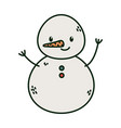 snowman character with carrot nose celebration vector image