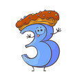 sweet cake number character three 3 vector image vector image