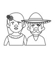 traditional mexican couple characters vector image