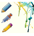 watercolor painted pencil icons splashes of paint vector image vector image