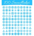 Set of 100 snowflakes vector image