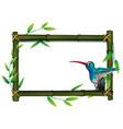 a bird on bamboo border vector image vector image