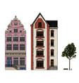 amsterdam houses urban residential buildings vector image vector image