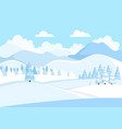 beautiful winter mountain landscape with blue sky vector image vector image